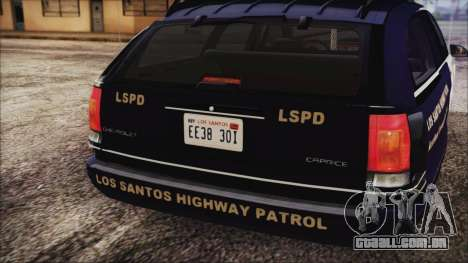 Chevrolet Caprice Station Wagon 1993-1996 LSPD para GTA San Andreas vista traseira