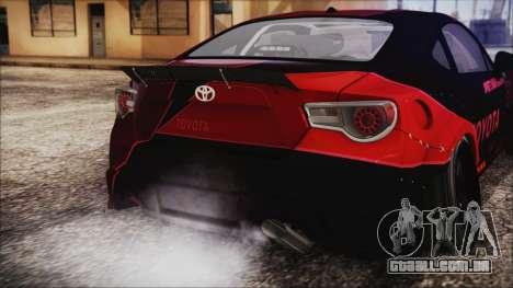 Toyota GT86 Speedhunters para GTA San Andreas vista traseira