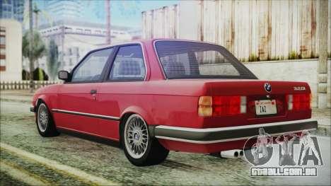 BMW 320i E21 1985 SA Plate para GTA San Andreas esquerda vista