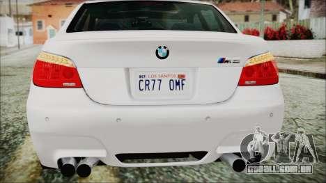 BMW M5 E60 2009 para GTA San Andreas vista inferior