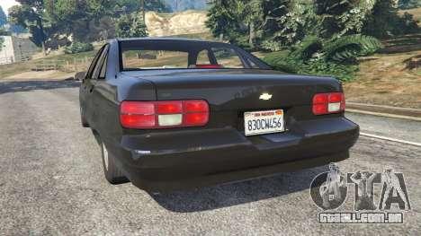 GTA 5 Chevrolet Caprice 1991 v1.2 traseira vista lateral esquerda