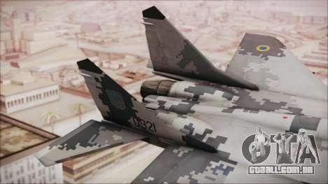 MIG-29 Fulcrum Ukrainian Falcons para GTA San Andreas traseira esquerda vista
