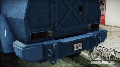 GTA 5 HVY Insurgent Van IVF para GTA San Andreas vista interior