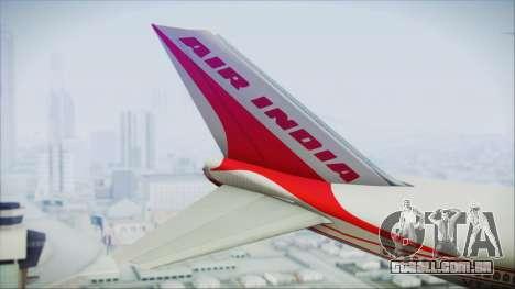 Boeing 747-237Bs Air India Emperor Ashoka para GTA San Andreas traseira esquerda vista