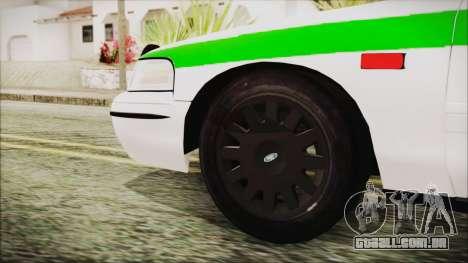 Ford Crown Victoria Miami Dade para GTA San Andreas traseira esquerda vista