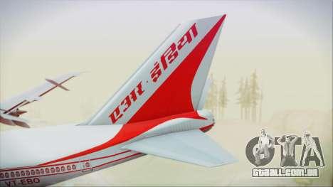 Boeing 747-237Bs Air India Vikramaditya para GTA San Andreas traseira esquerda vista