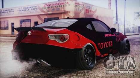 Toyota GT86 Speedhunters para GTA San Andreas esquerda vista