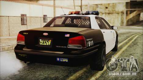 GTA 5 Vapid Stranier II Police Cruiser para GTA San Andreas esquerda vista