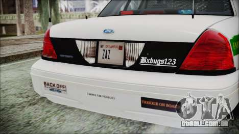 Ford Crown Victoria Miami Dade para GTA San Andreas vista traseira