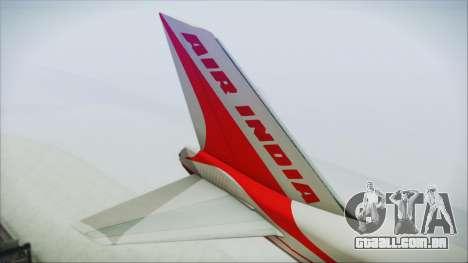 Boeing 747-237Bs Air India Emperor Shahjehan para GTA San Andreas traseira esquerda vista