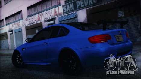 BMW M3 GTS 2011 HQLM para GTA San Andreas traseira esquerda vista
