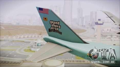 Boeing 747-100 Blue para GTA San Andreas traseira esquerda vista