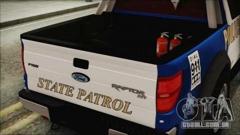Ford F-150 SVT Raptor 2012 Police Version para GTA San Andreas vista traseira