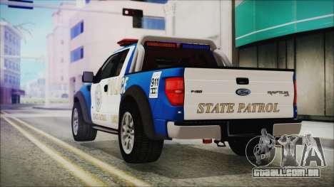 Ford F-150 SVT Raptor 2012 Police Version para GTA San Andreas esquerda vista
