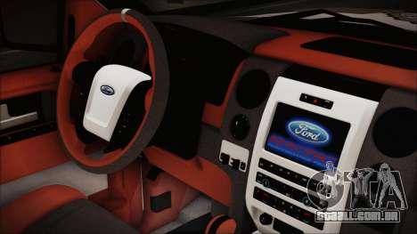 Ford F-150 SVT Raptor 2012 Police Version para GTA San Andreas vista direita