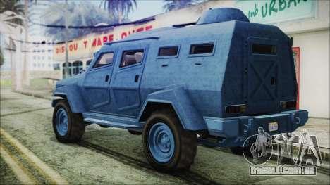 GTA 5 HVY Insurgent Van IVF para GTA San Andreas esquerda vista