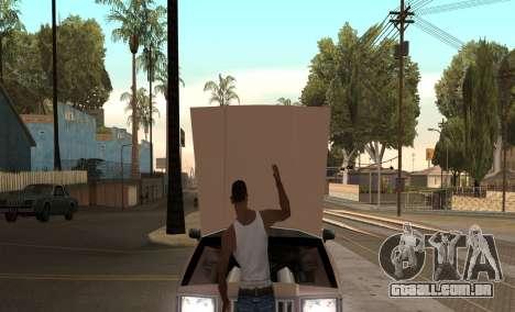 Abrir o capô ou o tronco mãos para GTA San Andreas