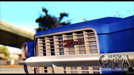 Chevrolet Camaro Z28 1970 Tunable para GTA San Andreas traseira esquerda vista