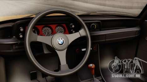 BMW 2002 Turbo 1973 Stock para GTA San Andreas vista direita