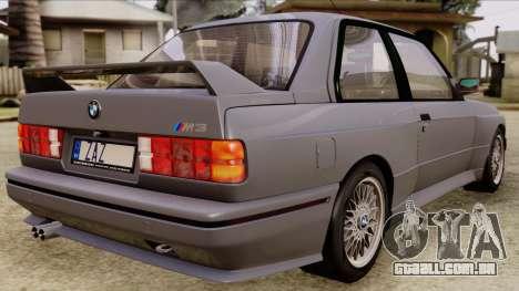 BMW M3 E30 1991 Stock para GTA San Andreas esquerda vista