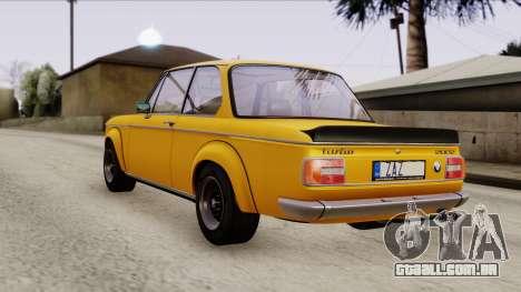 BMW 2002 Turbo 1973 Stock para GTA San Andreas traseira esquerda vista