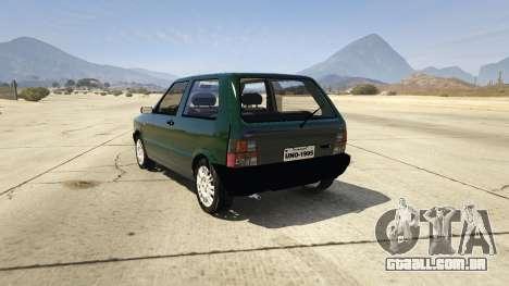 GTA 5 Fiat Uno 1995 traseira vista lateral esquerda