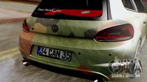 Volkswagen Scirocco R Army Edition para GTA San Andreas vista traseira