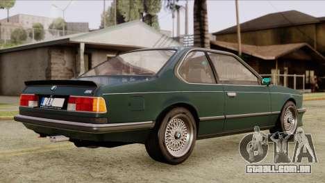 BMW M635 E24 CSi 1984 Stock para GTA San Andreas traseira esquerda vista
