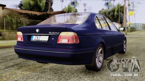 BMW 530D E39 2001 Stock para GTA San Andreas esquerda vista