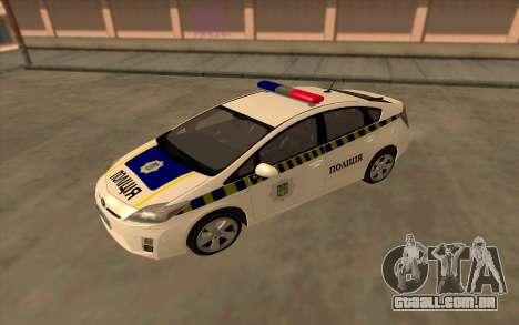 Toyota Prius Polícia Da Ucrânia para GTA San Andreas vista direita