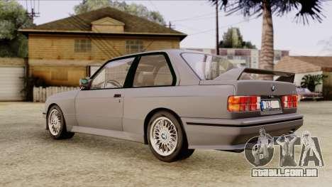 BMW M3 E30 1991 Stock para GTA San Andreas traseira esquerda vista