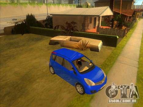 Nissan Note v0.5 Beta para GTA San Andreas vista traseira