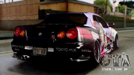 Nissan Skyline R34 Stance Nico Yazawa Itasha para GTA San Andreas esquerda vista