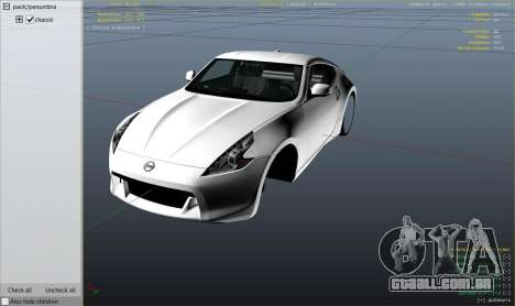 GTA 5 Nissan 370z v2.0 vista lateral direita