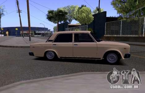 VAZ 2107 KBR para GTA San Andreas traseira esquerda vista