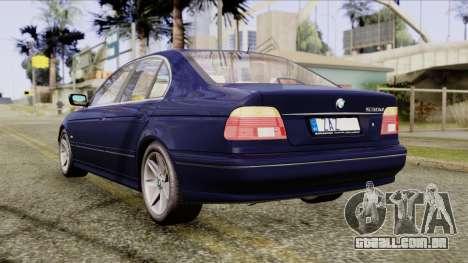 BMW 530D E39 2001 Stock para GTA San Andreas traseira esquerda vista