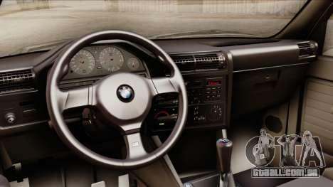 BMW M3 E30 1991 Stock para GTA San Andreas vista direita