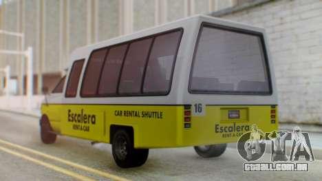 GTA 5 Rental Shuttle Bus Escalera Livery para GTA San Andreas esquerda vista