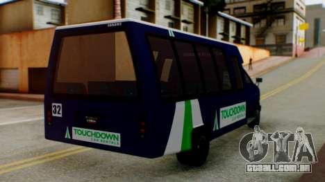 GTA 5 Rental Shuttle Bus Touchdown Livery para GTA San Andreas esquerda vista