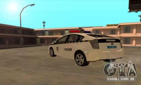 Toyota Prius Polícia Da Ucrânia para GTA San Andreas traseira esquerda vista