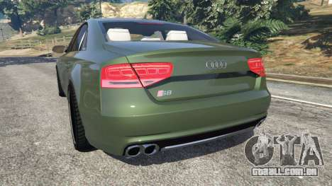 GTA 5 Audi S8 Quattro 2013 v1.2 traseira vista lateral esquerda