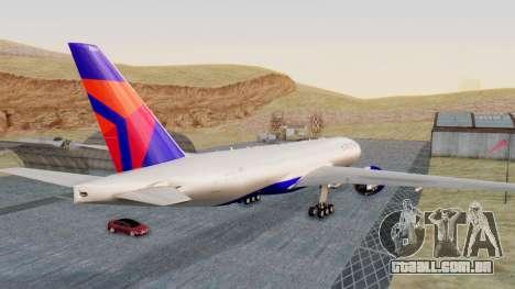 Boeing 777-200LR Delta Air Lines para GTA San Andreas traseira esquerda vista