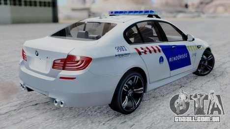 BMW M5 F10 Hungarian Police Car para GTA San Andreas esquerda vista