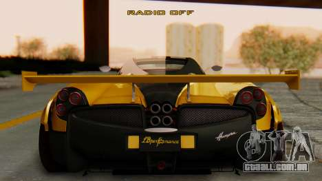 Pagani Huayra LB Performance V.2 para GTA San Andreas esquerda vista