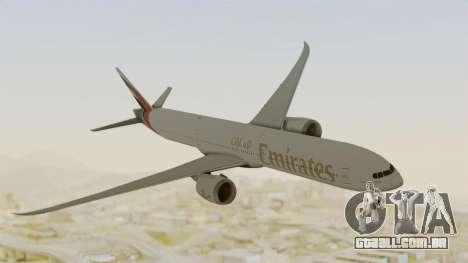Boeing 777-9x Emirates Airlines para GTA San Andreas traseira esquerda vista