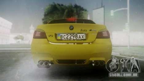BMW m5 e60 Gold para GTA San Andreas traseira esquerda vista