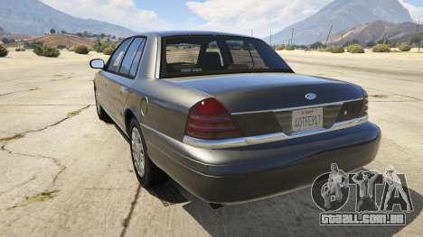 GTA 5 Ford Crown Victoria Detective traseira vista lateral esquerda