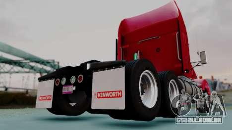 Kenworth T800 38s Austero Flat Top para GTA San Andreas traseira esquerda vista