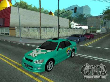 Toyota Altezza Tunable para GTA San Andreas traseira esquerda vista