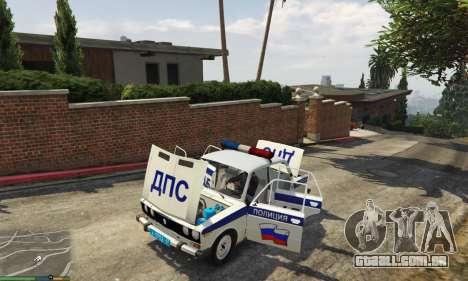 GTA 5 VAZ 2106 Polícia traseira vista lateral esquerda